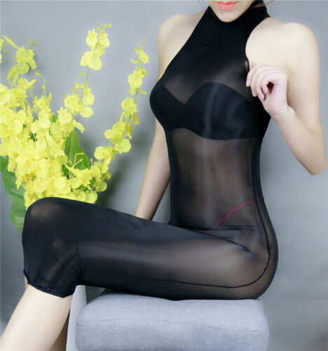 Unisexe Ultra Brillant Brillant Robe Longue Sheer Nylon Catsuit 3 Styles Combinaison