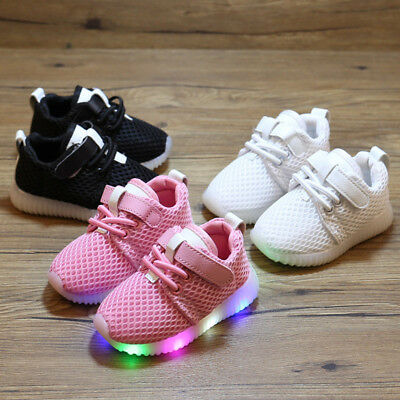 LED Kids Boy Girl Sports Shoes Baby Casual Running Sneaker Mesh Shoes Breathable