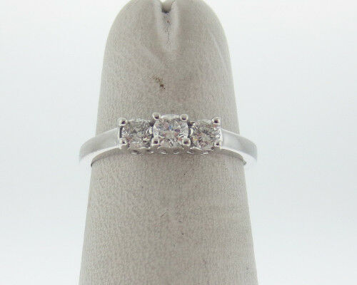 Genuine 1 3ct Diamonds Solid 14k White gold 3-Stones Ring FREE Sizing