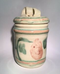 MA-Bowman-Signed-Studio-Pottery-Canister-Container-Flower-Crock-Curly-Lid-VTG