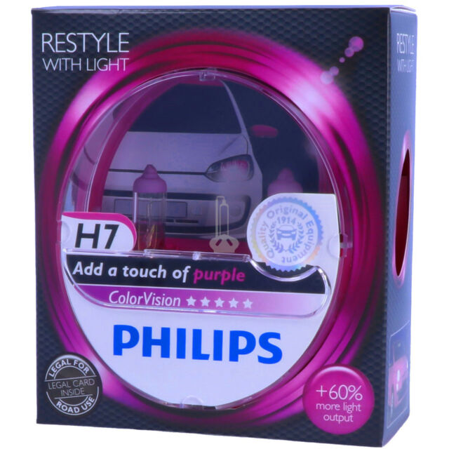 H7 PHILIPS ColorVision LILA - Styling Scheinwerfer Lampe - DUO-Pack-Box NEU