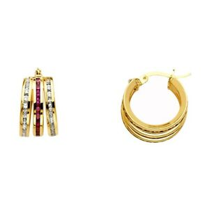 Image Is Loading Red Cz Hoop Earrings Solid 14k Yellow Gold