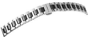 Edelstahl-Keramik-Uhrenband-14-mm-Silber-Schwarz-mm-Faltschliesse-X8100080140