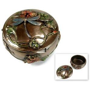 DRAGONFLY JEWELRY BOX w LID Trinket Art Nouveau HIGH QUALITY Bronze