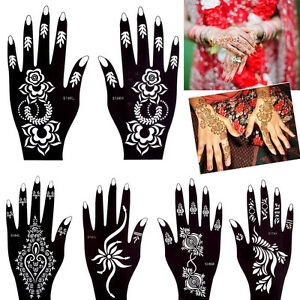 Mehndi Indian Hollow Henna Tattoo Stencil Airbrush Painting Hands