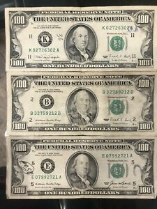 Lot Of 3 100 Dollar Bills 90 88 85 Federal Reserve Note Old Money