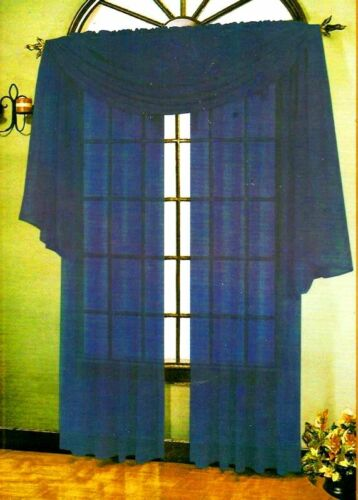 """SHEER VOILE 216/"""" WINDOW CURTAIN SCARF SCARVES NAVY BLUE"""
