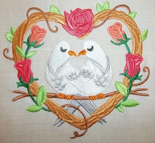 "Embroidered Quilt Block Panel /""Dove Love Nest/"" Pure Irish Linen Fabric"
