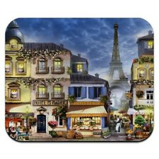 Decorative Mouse Pad Art Print Eiffel Tower Paris Stamped Postcard