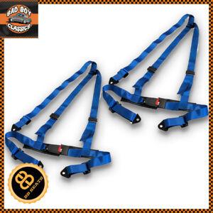 3-Point-Blue-Car-Racing-Seat-Belt-Harness-Universal-Design-Pair