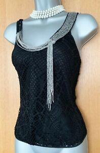 KAREN-MILLEN-UK-10-Black-Lace-Beaded-Formal-Party-V-Neck-Body-Top-Blouse-EU-38