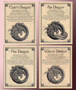 SET-OF4-ELEMENTAL-DRAGONS-EARTH-AIR-FIRE-WATER-INVOCATION-PagePoster-WiccaPagan