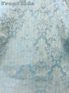 Damask fabric ebay - Fatigue Blue Faux Silk Damask Jacquard 56 Quot W Fabric