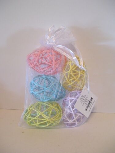 BAG OF 5 PASTEL WIRE WRAPPED EASTER EGGS CRAFT BASKET DECORATION SPRING