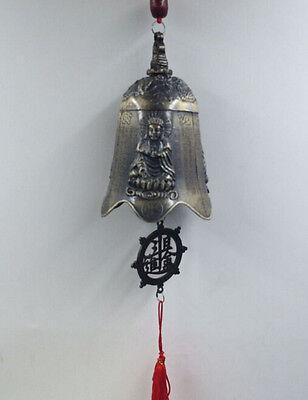 China/'s rare delicate brass sculpture ssangyong pray dragon bell Feng shui