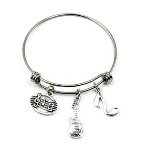 Music-Bracelet-Music-Teacher-Charm-Bangle-Stainless-Steel-Expandable-Wire