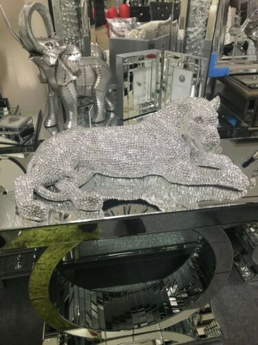 Lion ornament Extra large silver electroplated lying down Lion jewel effect