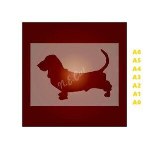 BASSET-HOUND-Dog-Stencil-350-micron-Mylar-not-Hobby-stuff-DOGS116