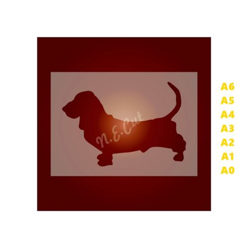 350 micron Mylar not Hobby stuff #DOGS116 BASSET HOUND Dog Stencil