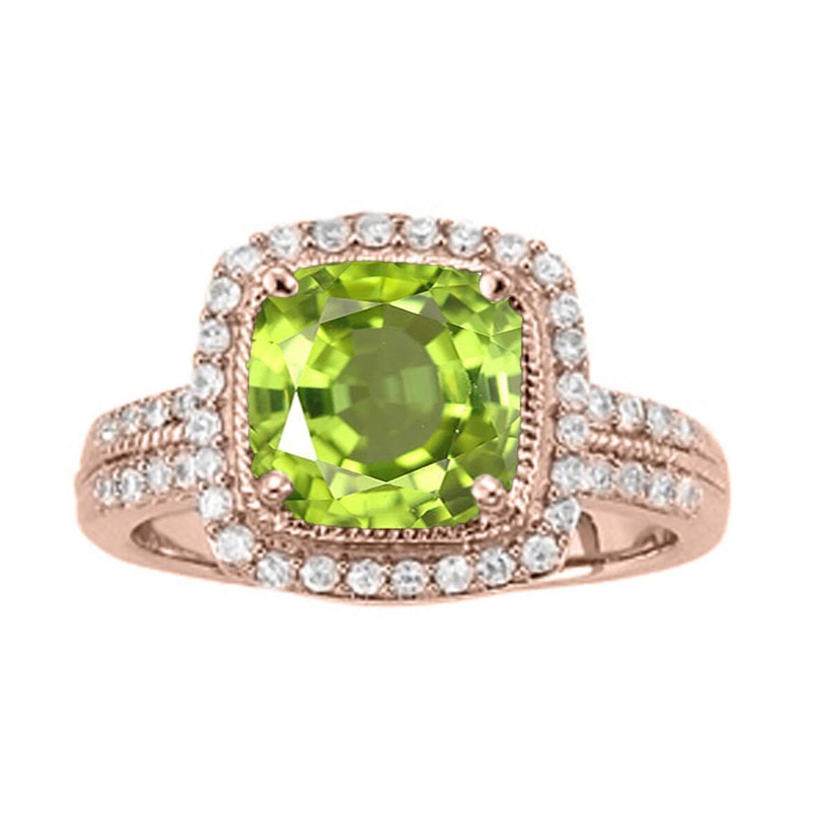 2.60 Ct. Ttw Diamond And Cushion Cut Peridot Ring In 14K gold