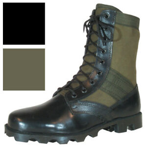 Image is loading Vietnam-Jungle-Boots-8-034-Leather-Canvas-Panama- 2b55d15180