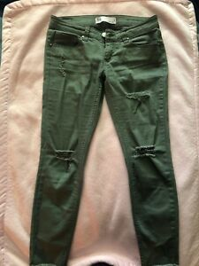 8c58c65ba Image is loading RSQ-Ripped-Jeans-Baja-Ankle-Olive-Green-Size-