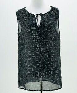 Ann-Taylor-Loft-Womens-Black-Sheer-Keyhole-Neck-Sleeveless-Blouse-Size-Medium