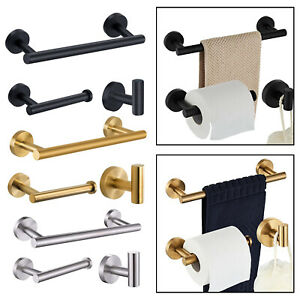 3x-Brushed-Robe-Hook-Toilet-Paper-Holder-12-034-Hand-Towel-Bar-Hardware-Set