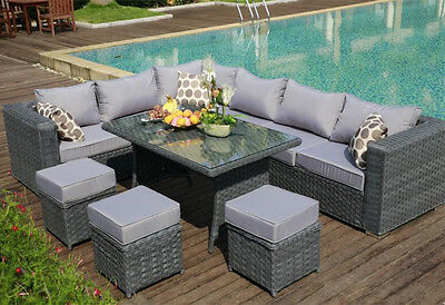 2016PAPAVER RANGE 9 Seater Rattan Corner Sofa & Dining Set Garden Furniture Grey