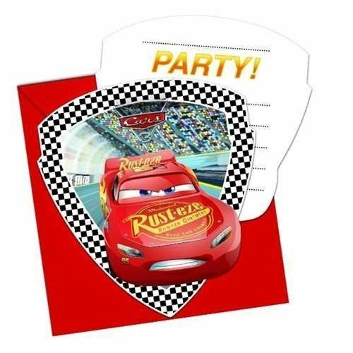 6pk Cars 3 Die Cut Invitations Envelopes Birthday Party Stationary