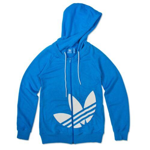 Zip Hooded Femmes Retro Trefoil Originals 36 Sweat Veste Bleu Adidas Blanc qtxwI0