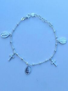 Rosary Bead Rosario Cross Charm Bracelet Genuine Real Solid 925 Silver ITALY