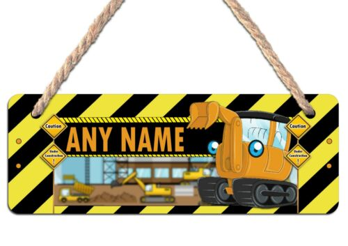 Personalised ANY Name Hanging Wooden Door Sign Plaque N13 Kids Boys Girls Digger