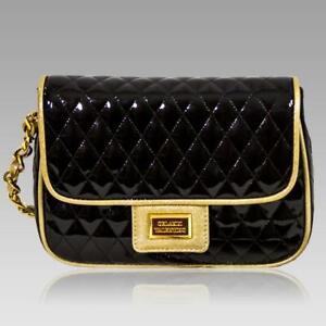 Valentino-Orlandi-Designer-Black-Quilted-Leather-Purse-Messenger-Bag-w-Chain