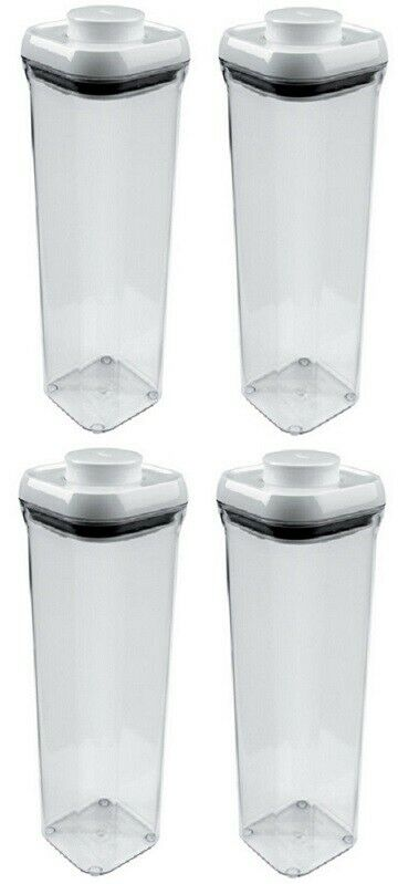 (4) ea Oxo 1071395 2.1 Quart Pop Small Square Food Storage Containers