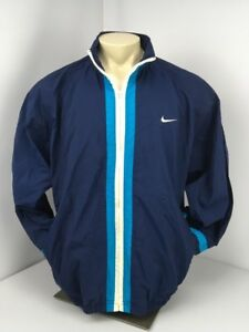 VTG 90s Nike Windbreaker Jacket Size XL Blue Green White Full Zip SWOOSH Track
