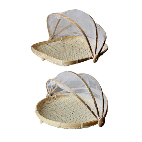 Pack 2 Bamboo Tent Basket Serving Food Picnic Pop Up Mesh Screen Net Cover S