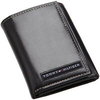 Brand Tommy Hilfiger Men's Leather Credit Card Wallet Trifold Black 5676-1