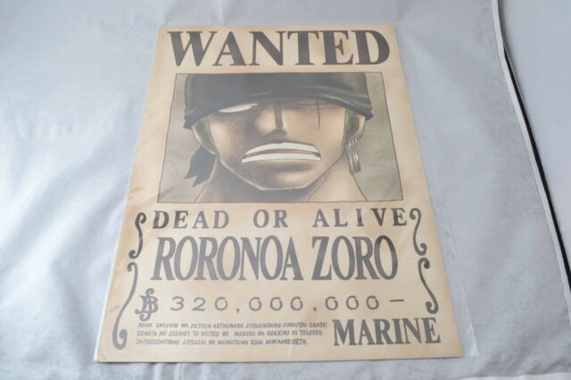 Official Mugiwara Store Item One Piece Wanted Poster Roronoa Zoro Second Edition