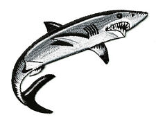 Shark - Fishing - Ocean - 5 INCH Fully Embroidered Iron On Patch - Right