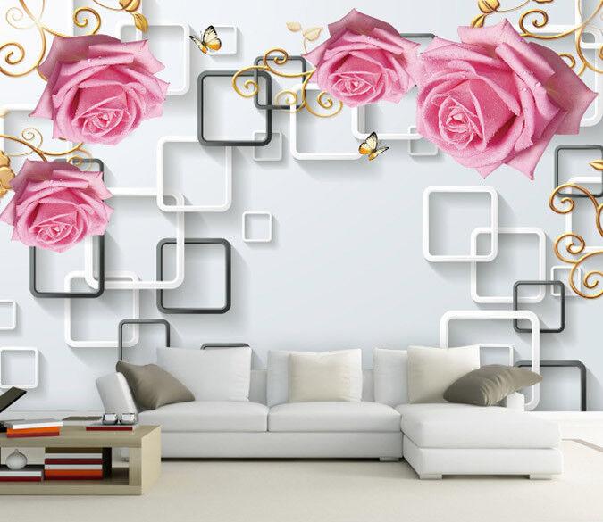 Papel Pintado Mural De Vellón Marco De Mariposa De pink 3 Paisaje Fondo Pansize