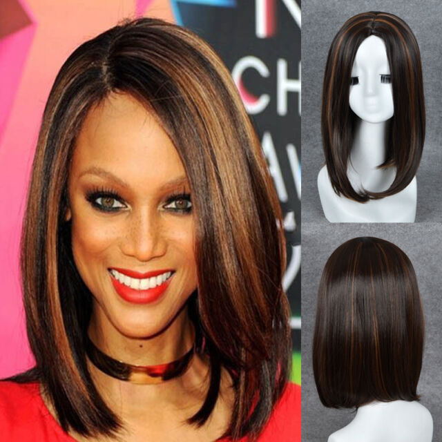 Fashion Women Long Straight Bob Coffee Brown Highlights Synthetic
