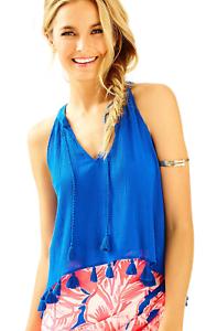 Lilly Pulitzer Roxi Blue Crush Tassel Fringe Tie Neck Tank Top Blouse Size S