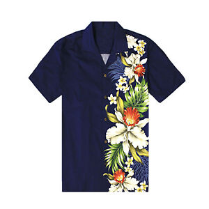 Made-in-Hawaii-Men-Hawaiian-Aloha-Shirt-Luau-Cruise-Party-Side-Orchid-Navy