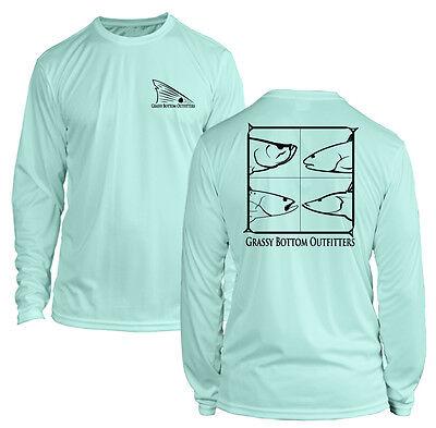 Microfiber Long Sleeve Redfish Snook Trout Tarpon Fishing Shirt UPF50 Seafoam
