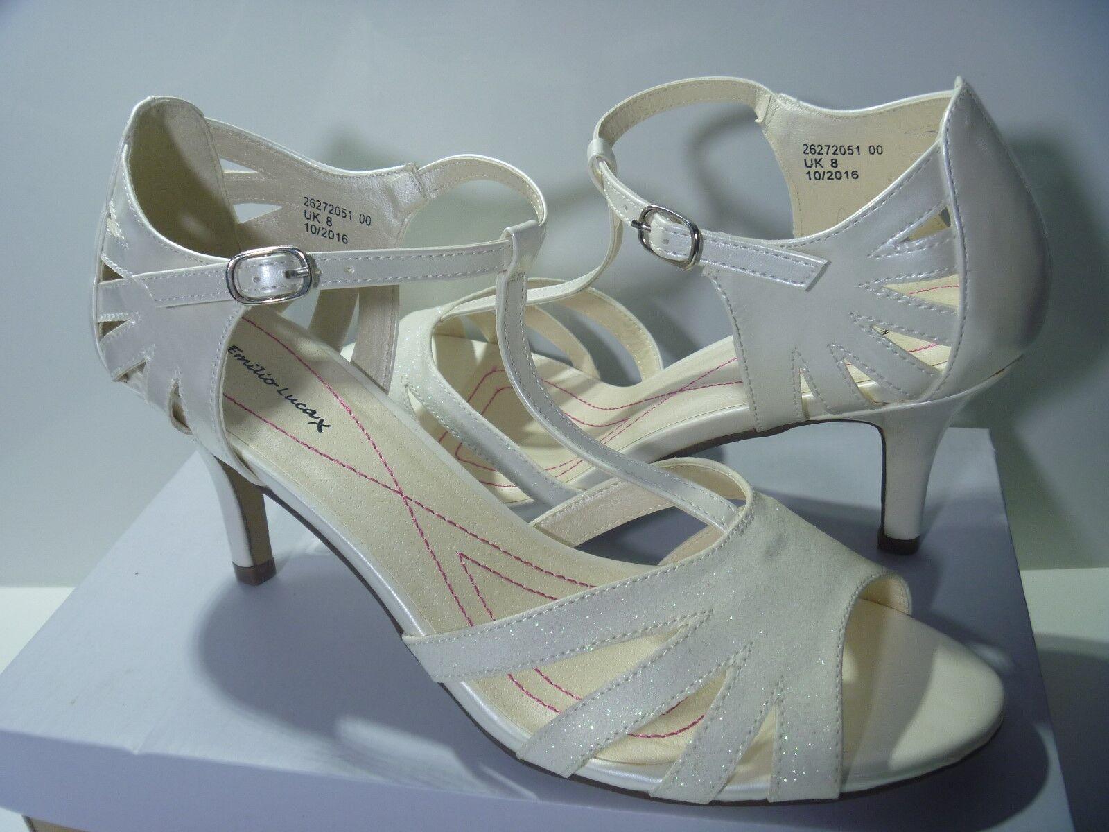 EMILIO LUCA LADIES CHACHA SHOES WHITE METALLIC GLITTER SANDALS WEDDING RACES 6