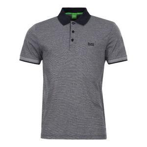 b2562220 Hugo Boss Green Men's Paddos Short Sleeve Black Striped Polo T-shirt ...