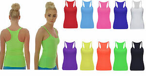 New-Kids-Girls-Neon-Stretchy-Vest-Top-Racer-Back-Dance-Party-Costume-5-12-Yrs