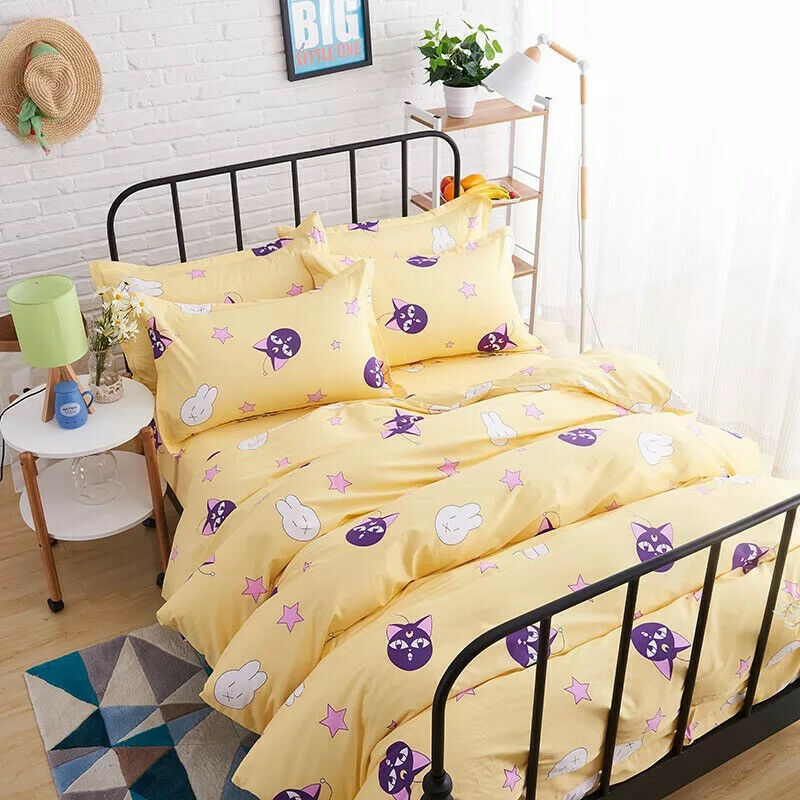 Sailor Moon Anime Cute Cotton Bed Sheet Quilt Cover Pillowcases Cartoon Full Set