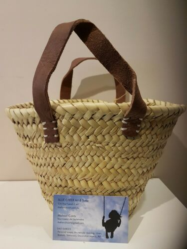 Basket leather handles Baby /'French/' Market Basket Hand Made in Morocco Duck